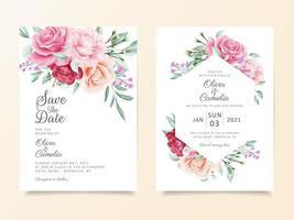Conjunto de modelo de cartão de convite de casamento lindo