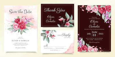 Conjunto de modelo de cartão de convite de casamento de flores