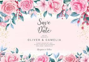 Modelo de cartão de convite de casamento botânico vetor