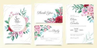 Conjunto de modelo de cartão de convite de casamento moderno