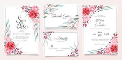 Conjunto de modelo de cartão de convite de casamento floral vetor