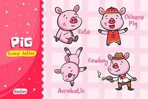 Conjunto de desenhos animados de porco. Desenho vetorial de ação animal