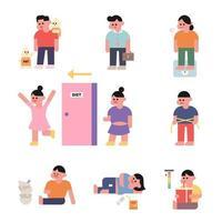 Personagens lutando com o peso vetor