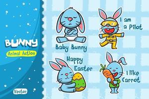 Conjunto de desenhos animados de coelho. Desenho vetorial de ação animal