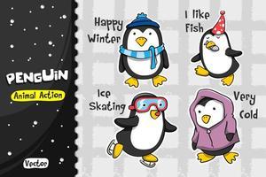 Conjunto de desenhos animados de pinguim. Desenho vetorial de ação animal vetor