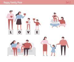 Conjunto de caracteres de família feliz.