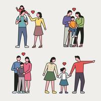 estilo de contorno feliz família conjunto de caracteres.