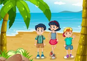 Crianças passeando na praia vetor