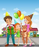 Uma família feliz na faixa de pedestres vetor