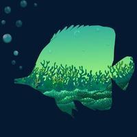 Salvar o design da vida selvagem com peixes vetor