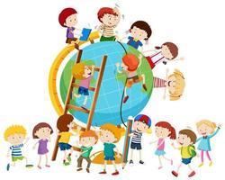 Muitas crianças ao redor do mundo vetor