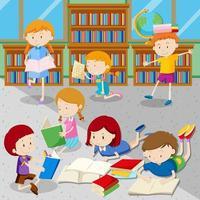 Alunos lendo livros na biblioteca vetor
