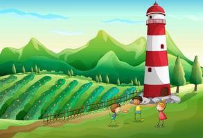 Três lindos filhos na fazenda brincando perto da torre vetor
