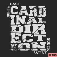Selo vintage de direção cardinal