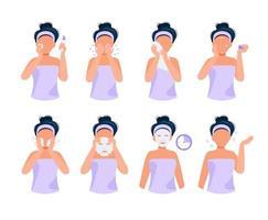 Rotina de cuidados com a pele. Conjunto de ilustração com garota fazendo etapas diferentes, cuidados com a pele, rotina de beleza vetor