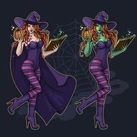 Bruxa bonita com um livro de magia vetor