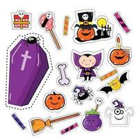 Conjunto de patches de adesivo de ícone de Halloween vetor