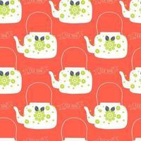 bule de chá de arte popular com impressão em bloco de flores
