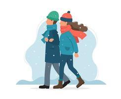 Casal andando no inverno. Ilustração em vetor gira em estilo simples