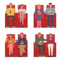 Casais sentados nas cadeiras vermelhas em um cinema assistindo a um filme. vetor