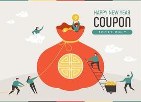 Cartaz de promoção de evento de ano novo. Enorme saco de dinheiro vetor