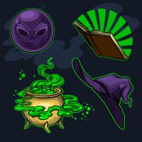 Atributos mágicos das bruxas vetor