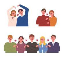 Pessoas fazendo várias formas de coração com as mãos vetor