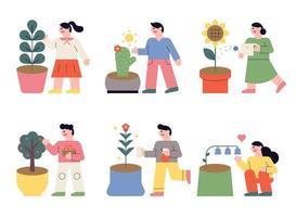Pessoas plantando flores em vasos. vetor