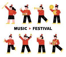 Personagem de banda de instrumento em uniforme vermelho, tocando instrumento musical. vetor
