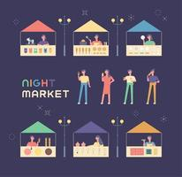 Várias lojas e convidados no mercado de pulgas.
