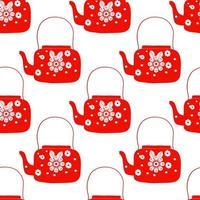 bule de chá de arte folclórica com flor
