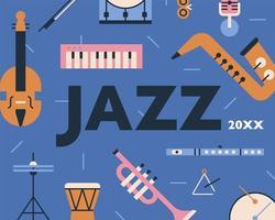 Cartaz de design de padrão de instrumentos musicais de jazz.