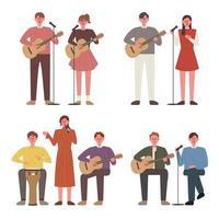 As pessoas tocam violão e cantam. Membros Busking.