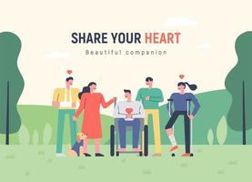 Pessoas que compartilham amor e corações calorosos com seus vizinhos.