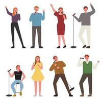 As pessoas estão cantando em várias poses.