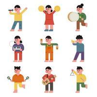 Engraçado crianças tocam vários instrumentos. vetor