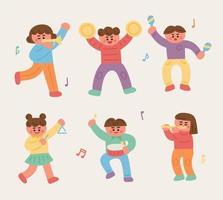 Bonitos crianças tocam vários instrumentos. vetor