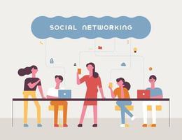 Cartaz de banner do conceito de rede social. vetor