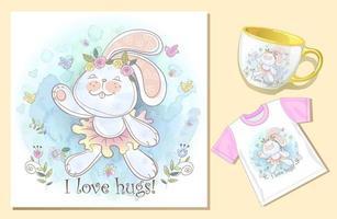 Coelho abraço cartão xícara de chá e camiseta modelo aquarela conjunto