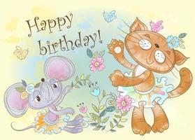 Cartão de aniversário com amigos fofos de gato e rato em aquarela