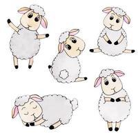Coleção de ovelhas de outono bonito aquarela vetor