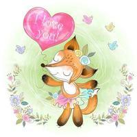 Fox bonito com um balão em forma de um coração. Eu te amo.