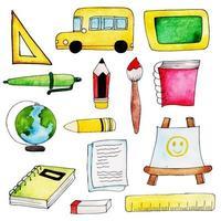 Coleção de elementos de escola em aquarela vetor