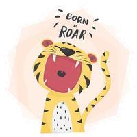 rugido de boca aberta de tigre bonito vector plana, nascido para rugir