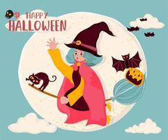 bonito vector plana uma bruxa montar uma flor mágica, voando sobre a lua cheia com gato e morcego