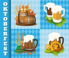 Oktoberfest Beer Festival ícones e símbolos vetor