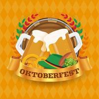 Conceito de distintivo e fundo de festival de cerveja Oktoberfest vetor