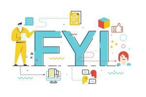 Ilustração de letras de palavra FYI