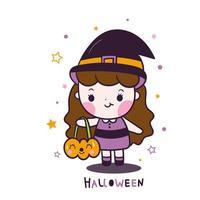 Desenho de menina kawaii Halloween segurando balde de abóbora dos desenhos animados com estrela vetor