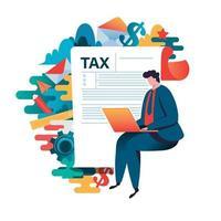 Conceito de pagamento de imposto on-line vetor
